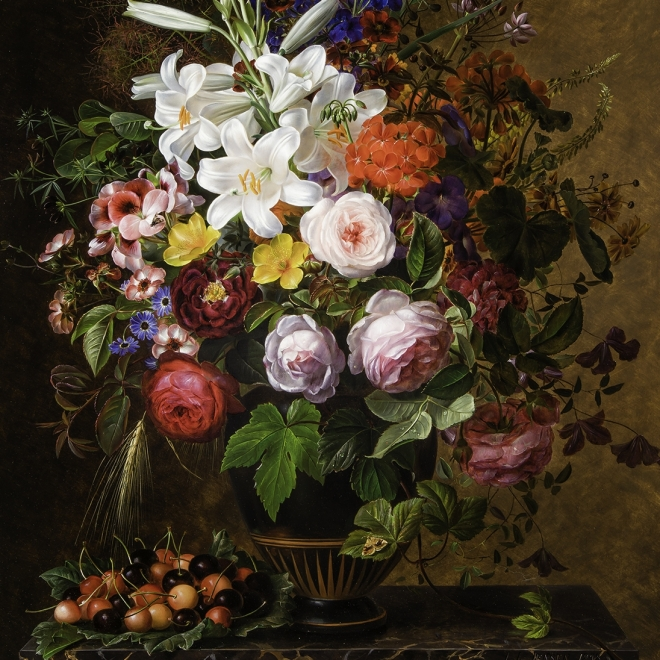 """JOHAN LAURENTZ JENSEN (Danish, 1800–1856),  """"Lilies, Orange and Pink Pelargonium, Roses and other Flowers in a Greek Vase on a Marble Ledge with Cherries,"""" 1848. Oil on wood panel, 31 x 23 1/2 in. (detail)."""