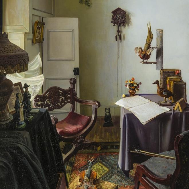 PRISCILLA WARREN ROBERTS (1916–2001), Home of the Artist, c. 1944–45. Oil on wood panel, 35 3/8 x 29 1/4 in. (detail).