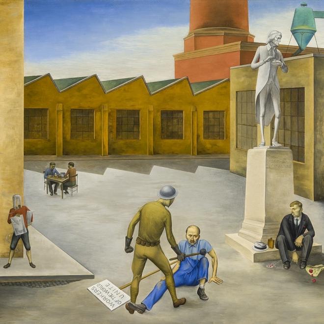 "OSVALDO LOUIS GUGLIELMI (1906–1956), ""The American Dream,"" 1935. Oil on Masonite, 21 1/2 x 30 in. (detail)."