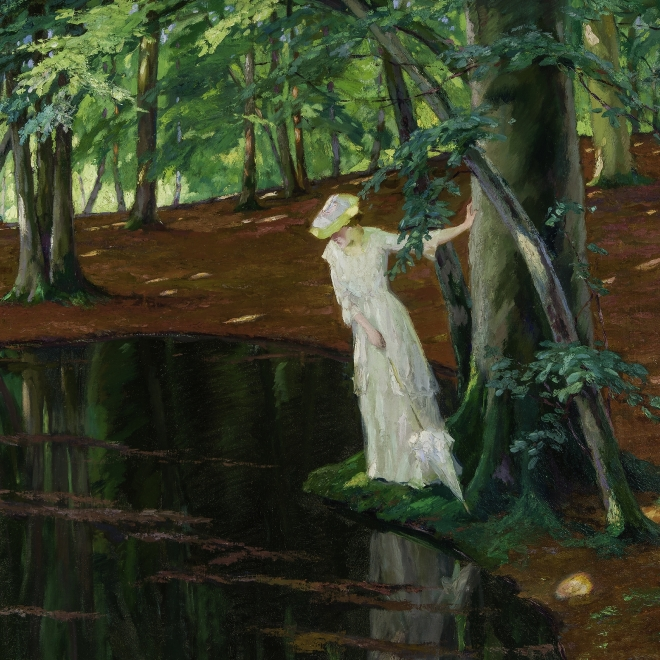 EDWARD CUCUEL (1875–1954), The Emerald Pool, about 1910–20. Oil on canvas, 35 1/2 x 40 in. Detail.
