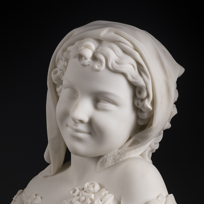 THOMAS BALL (1819–1911), Sunshine, 1872. Marble, 19 1/2 in. high x 14 in. wide x 9 in. deep (detail).