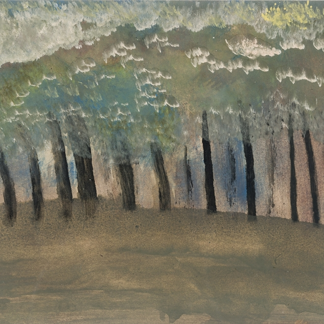 a painting by self-taught artist Frank Walter of a dense forest of black trunked trees