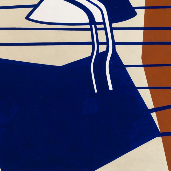 """RALSTON CRAWFORD (1906–1978), """"On the Sundeck,"""" 1948. Oil on canvas, 30 x 45 in. Detail."""