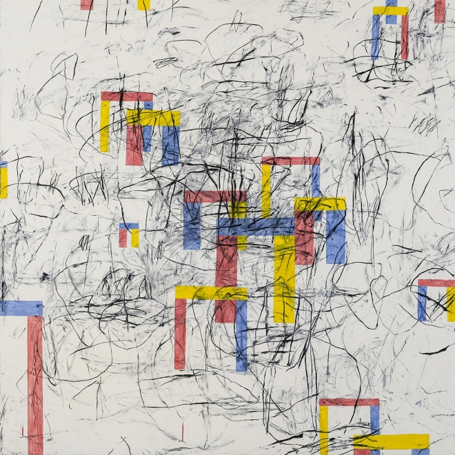 an untitled abstract painting by Louisa Chase featuring primary-colored house forms on a white background