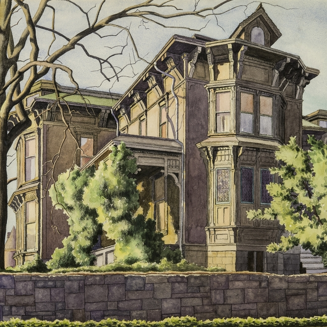 ZAMA VANESSA HELDER (1903–1968), Old T. T. Minor House, First Hill, Seattle, about 1939. Watercolor on paper, 19 x 22 3/4 in. (detail).