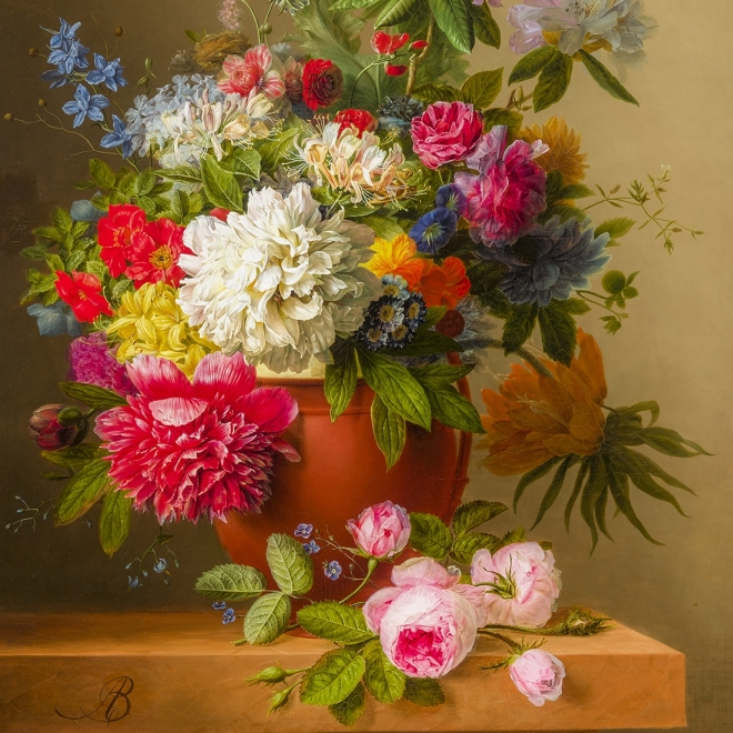 ARNOLDUS BLOEMERS (1792–1844), Still Life of Peonies, Roses, Honeysuckle, Poppies, and other Flowers. Oil on canvas, 30 x 24 in. (detail).