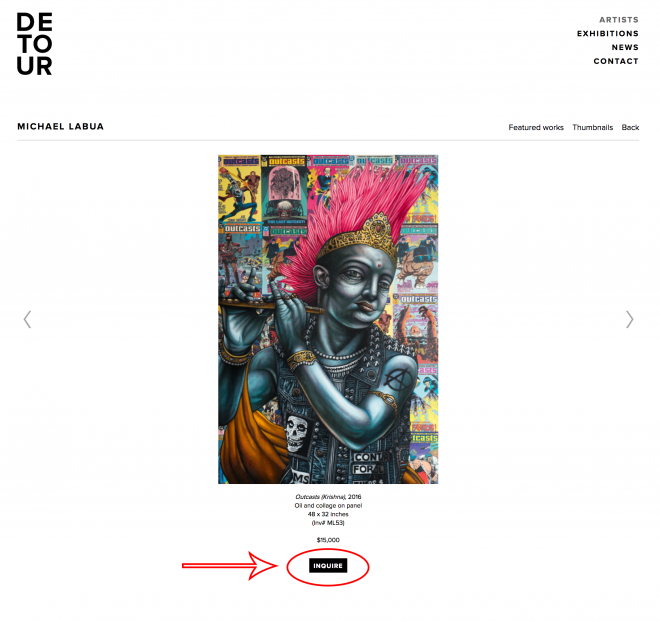 Inquiring art from Detour Gallery is now easy peasy