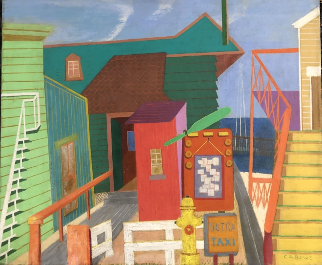 """A painting of geometric buildings in bright colors. In the background a portion of a body of water is showing. At the front of a composition there is an orange bulletin board with white slips of paper attached to a muted blue portion in the center of it. In front of the bulletin board there is a yellow fire hydrant with a small, light orange and blue sign next to it that reads """"Dutra Taxi""""."""