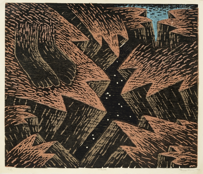 a woodblock print by Louisa Chase of two feet standing at the edge of a chasm