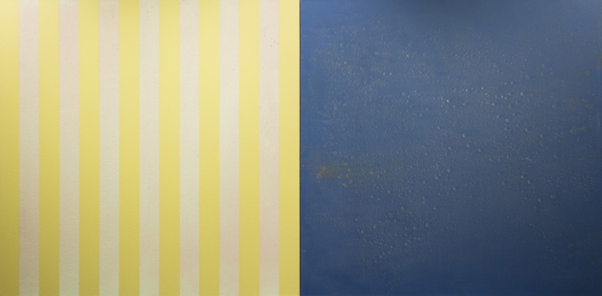 """YELLOWGREEN BLUE,1999 Acrylic on canvas Two panels 36 x 72"""""""