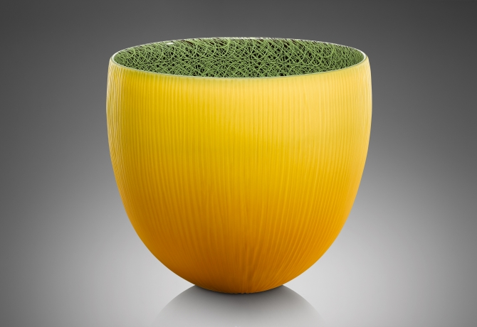 Introverre Yellow and Green Vessel