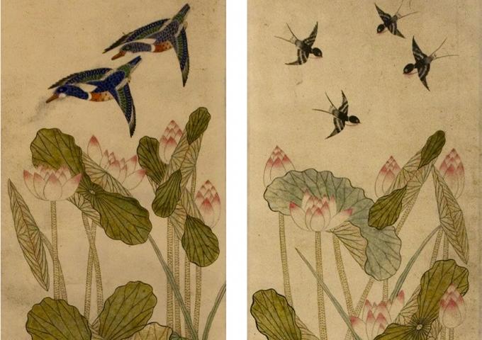 Flowering Lotuses with Pair of Carp