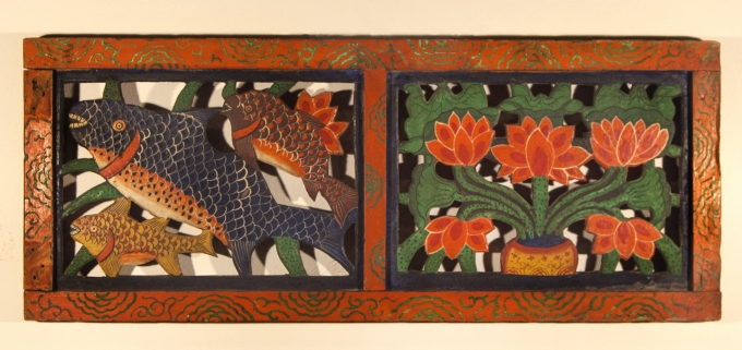 Temple Screen Door with Fish and Lotus,