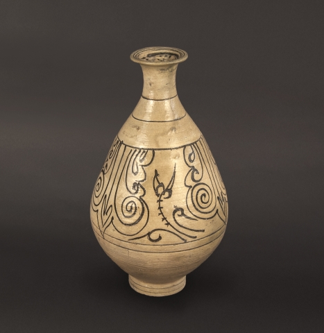 Buncheong Bottle With Iron-Oxide Decoration