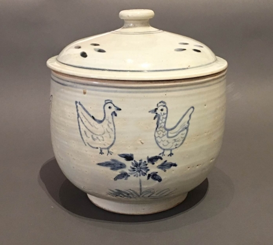 Large Blue and White Porcelain Bowl with Underglaze Rooster Design and Chrysanthemum