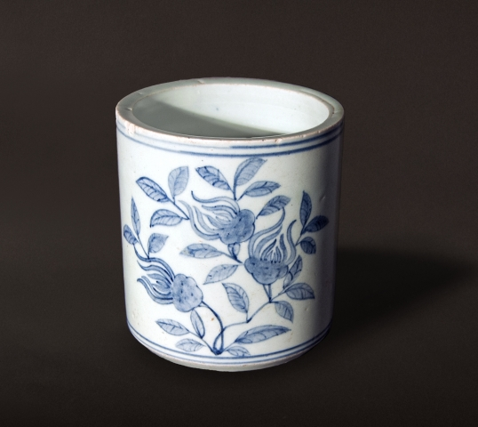 Blue And White Decorated Porcelain Brush Holder