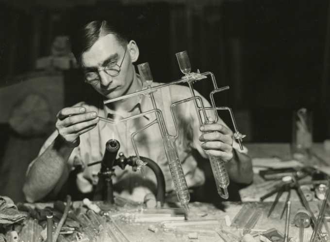 Lewis Hine, Worker finishing the end of a sulphur determinator. L.G. Nestor Co., Millville, NJ, March 26, 1937