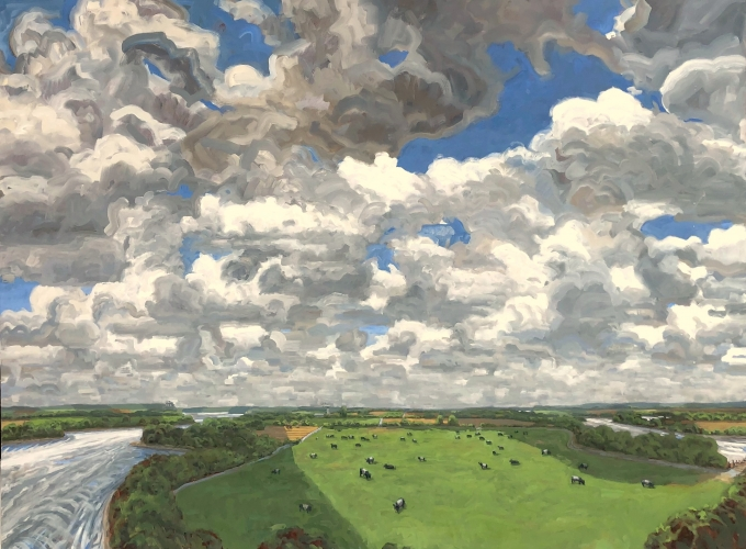 Max Mason, Big Sky In The Bottomlands, Oil On Canvas
