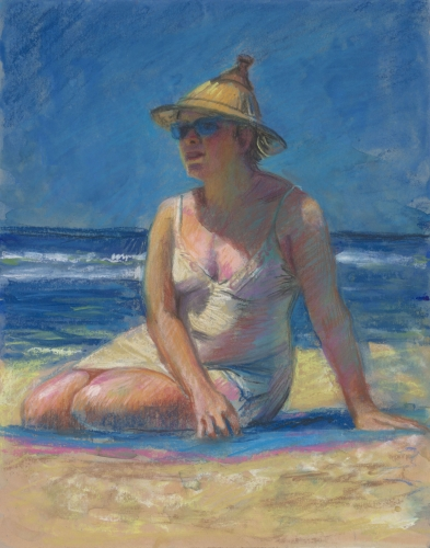 Pastel drawing of a woman on a beach