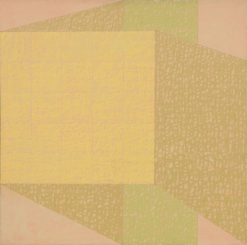 geometric abstract painting in yellow green and pink