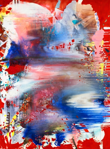 A red and blue painting with drips and scraping across the center by Jackie Saccoccio