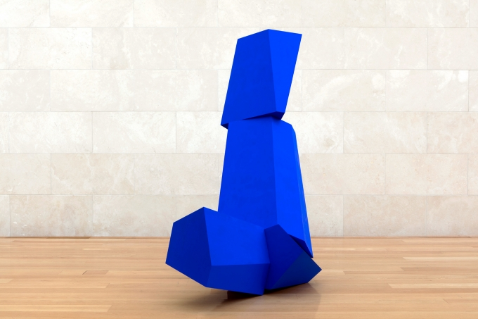 Joel Shapiro Really Blue (after all), 2016 wood and casein 103 x 79 x 50 in. (261.6 x 200.7 x 127 cm)