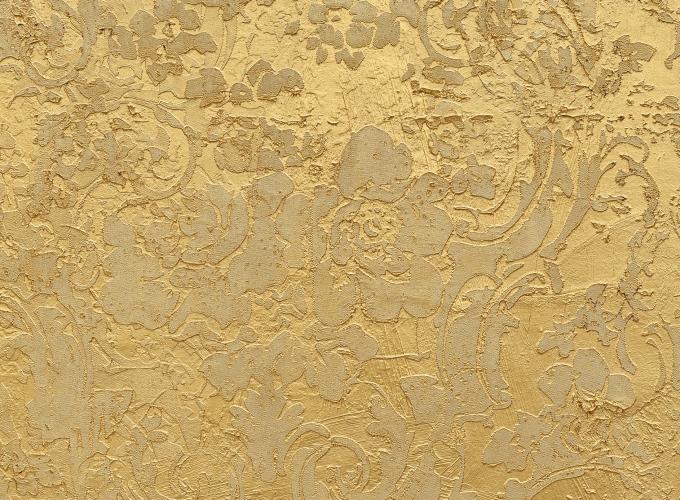 Detail of Rudolf Stingel's Untitled gold piece