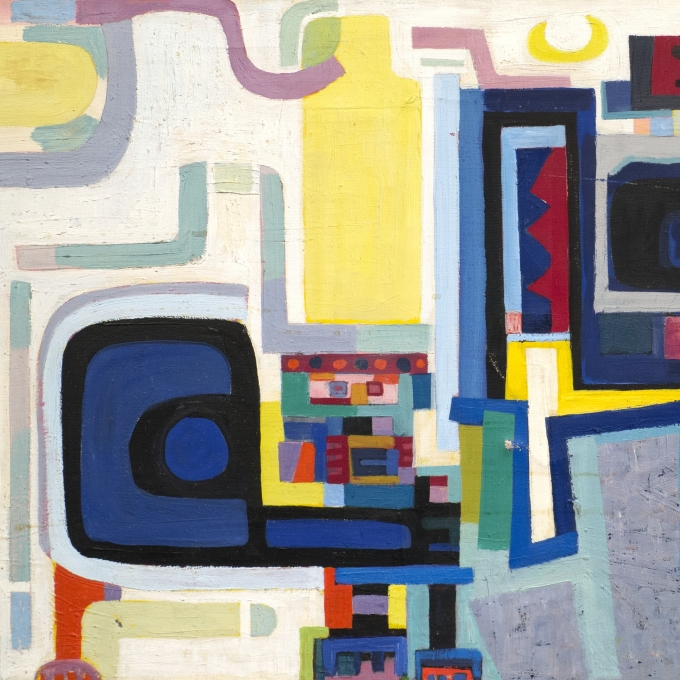 "Detail of ""Turkish Moonbeam"" by Peter Busa, 1950s. Painting of colorful geometric shapes and designs that wrap around each other."