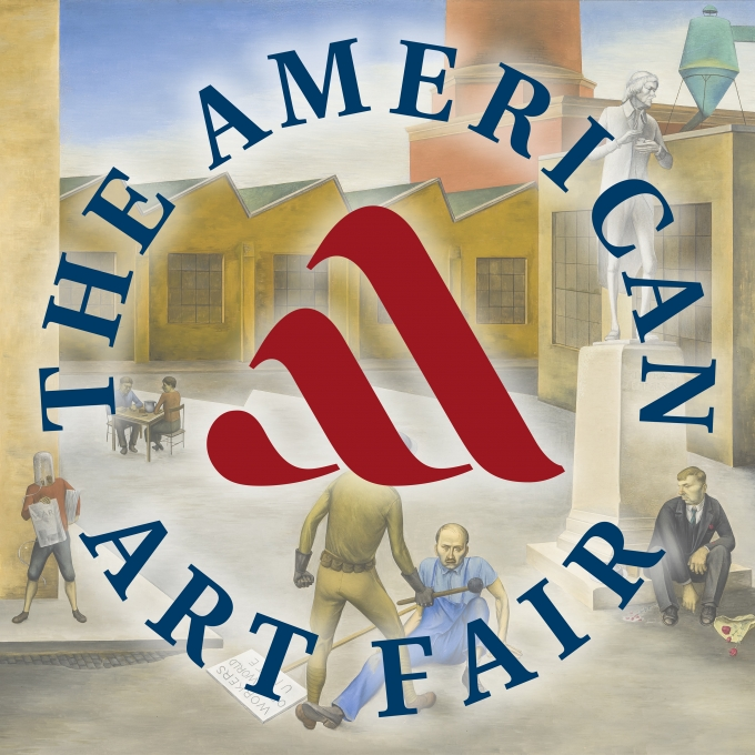 "Round logo for The American Art Fair superimposed over a ghosted detail of O. Louis Guglielmi's 1935 oil painting, ""The American Dream."""