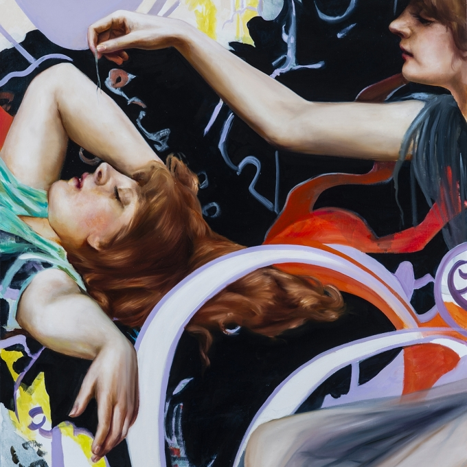 a woman sleeps while another tries to wake her in this painting by Angela Fraleigh