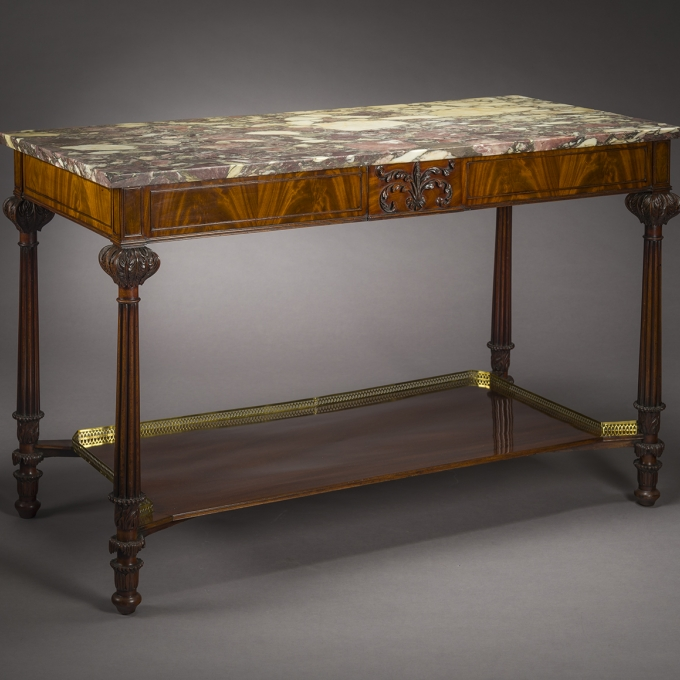 Thomas Seymour, Pier Table with Carved Tablet and Marble Top, about 1805-10