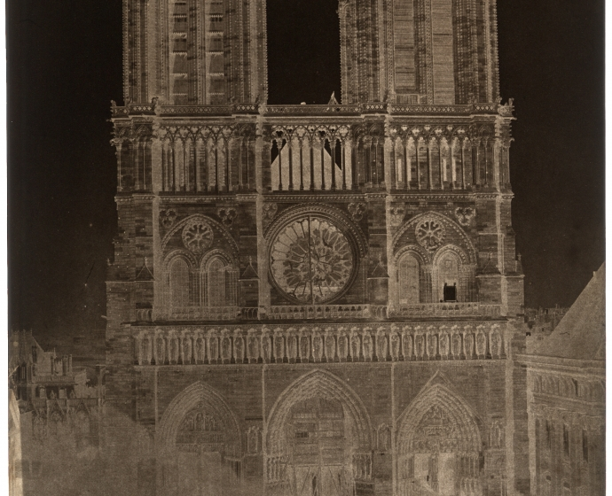 "Charles NÈGRE (French, 1820-1880) Notre-Dame, Paris, circa 1853 Waxed paper negative 33.8 x 23.9 cm Partial watermark ""J WHATMAN"""