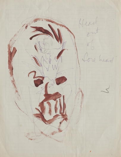 Paul Sharits Head Out of Forehead, n/d Mixed media on paper 11 x 8 1/2 inches (27.9 x 21.6 cm)