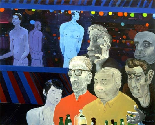 Richard Hawkins Peanut Gallery, Grand Opening, 2006 Oil on linen 48 x 60 inches 121.9 x 152.4 cm