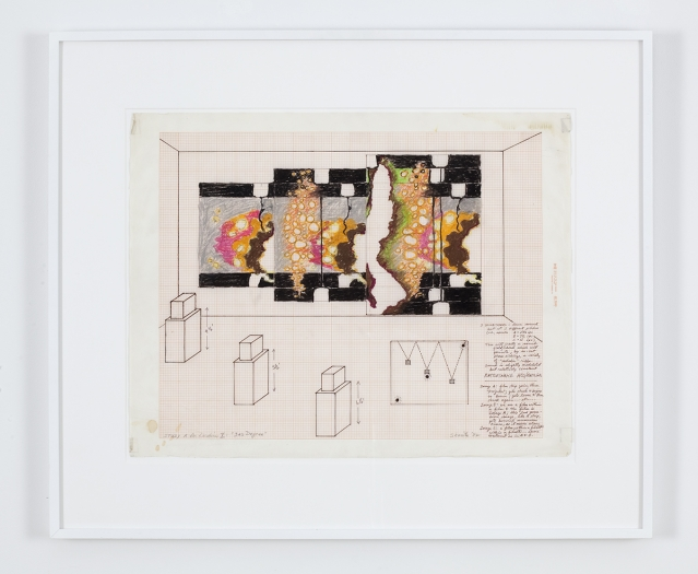 """Paul Sharits Study A for Location X: """"3rd Degree"""", 1982 Mixed media on vellum Paper: 18 x 23 inches (45.7 x 58.4 cm) Frame: 21 x 26 inches (53.3 x 66 cm)"""