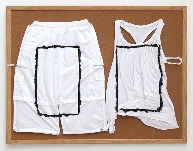 Tony Conrad Untitled (Untitled (...mine if you ...yours [III]), 2009 Acrylic, underwear, bulletin board 36 x 46 1/2 inches (91.4 x 118.1 cm)