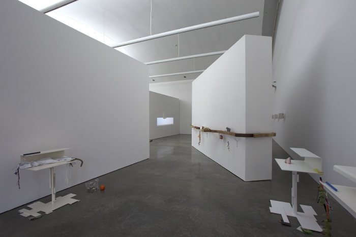 Helen Marten Installation view No borders in a wok that can't be crossed CCS Bard Hessel Museum Annandale-on-Hudson New York