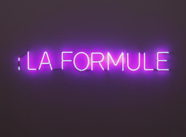 John Knight :La Formule, a work in situ, 2008 Neon sign 8 7/8 x 70 7/8 inches 22.5 x 180 cm