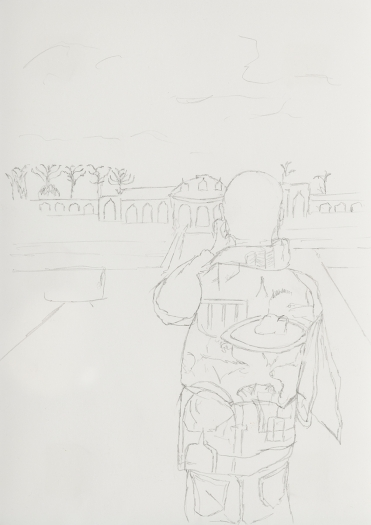 Juliette Blightman Sanssouci, Berlin, 2016 Graphite on Paper Paper: 8 1/4 x 5 7/8 inches (21 x 14.9 cm) frame: 9 1/4 x 7 1/2 inches (23.5 x 19.1 cm)