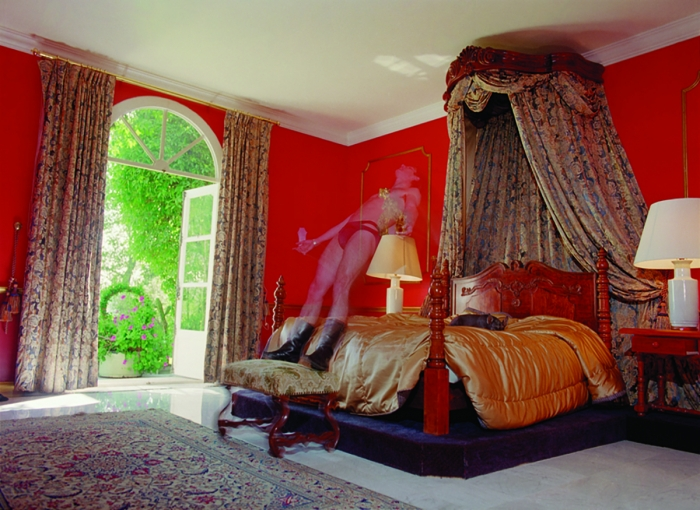 Daniela Rossell Untitled (Ricas y Famosas) Man Falling on Bed, 1999 C-print 50  x 60 inches (127 x 152.4 cm)