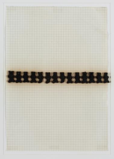 Konrad Lueg Untitled (Gummibärchen), Unknown Gummy bears, felt pen on graph paper Paper: 10 x 7 7/8 inches (25.5 x 20 cm) Frame: 17 3/4 x 14 3/8 inches (45.2 x 36.5 cm)