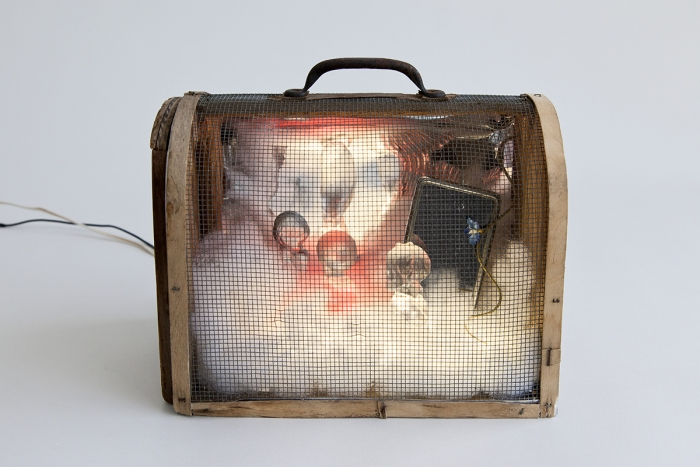 Hayley Silverman Intuition, 2017 Antique mouse trap, glass praying children, rear view mirror, LED, polyfil 8 1/2 x 11 x 5 inches (21.6 x 27.9 x 12.7 cm)