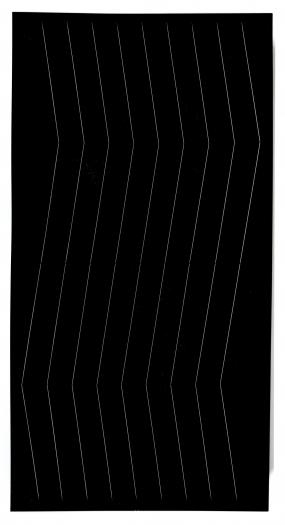 Spazio Elastico, 1966/67  Wood, elastic and mechanism  78 3/4  x 39 3/8 x 6 5/8  inches  Installation view, Greene Naftali, New York, 2013