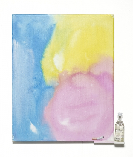 Monika Baer CMY, 2016 Acrylic on canvas, wood bottle 19 7/8 x 17 5/8 x 1 5/8 inches (50.5 x 44.8 x 4.1 cm)