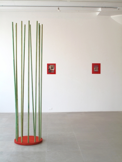 Michaela Meise Trans Column 2 (red and green), 2009 wood, gouache, oil 94 1/2 x 22 1/2 x 22 1/2 inches 240 x 57.2 x 57.2 cm