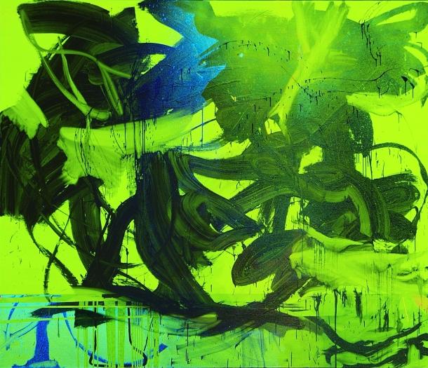 Jacqueline Humphries  Clockwork Lemon, 2005  Oil on linen  72 x 84 inches (182.9 x 213.4 cm)