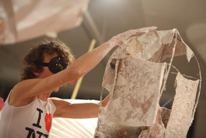 Performance view, Blind Sculpture, Greene Naftali, New York, 2010