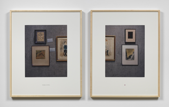 Louise Lawler For Better Or For Worse, 1991/1997 Two Cibachromes with text on mat Image: 21 x 16 7/8 inches (53.3 x 42.9 cm) each Frame: 34 7/8 x 28 7/8 inches (88.6 x 73.3 cm) each