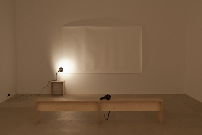 Juliette Blightman, A Year With No Head, 2011,  Pencil drawing, reading lamp, bench, table, 'A Year With No Head' by Blue Orchids, Dimensions variable