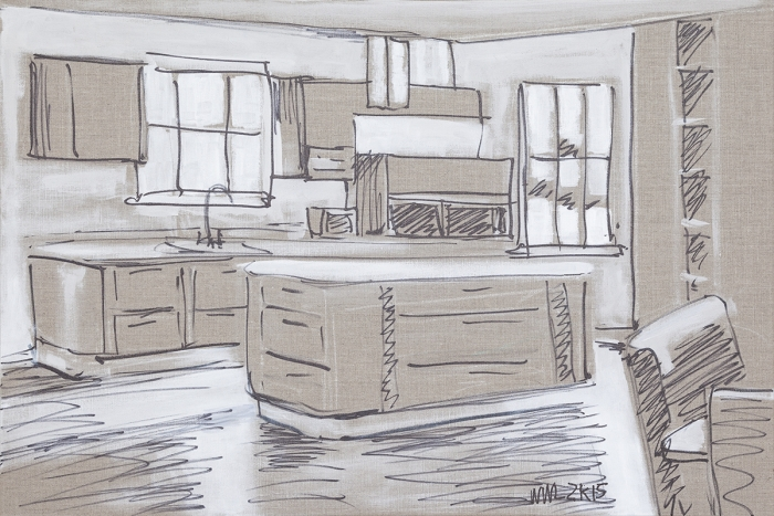 William Leavitt Kitchen Island #2, 2015 Oil marker on linen 24 x 36 inches (61 x 91.4 cm)